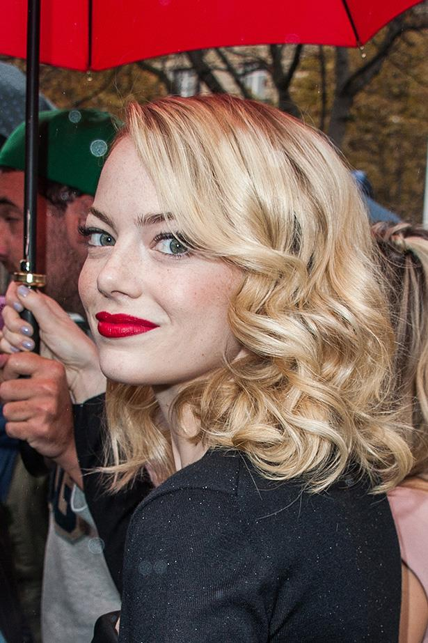 <strong>Emma Stone</strong>  <br> <br>  We love her strawberry blonde hair, but this would be a fresh change up for Spring. Just sayin'...
