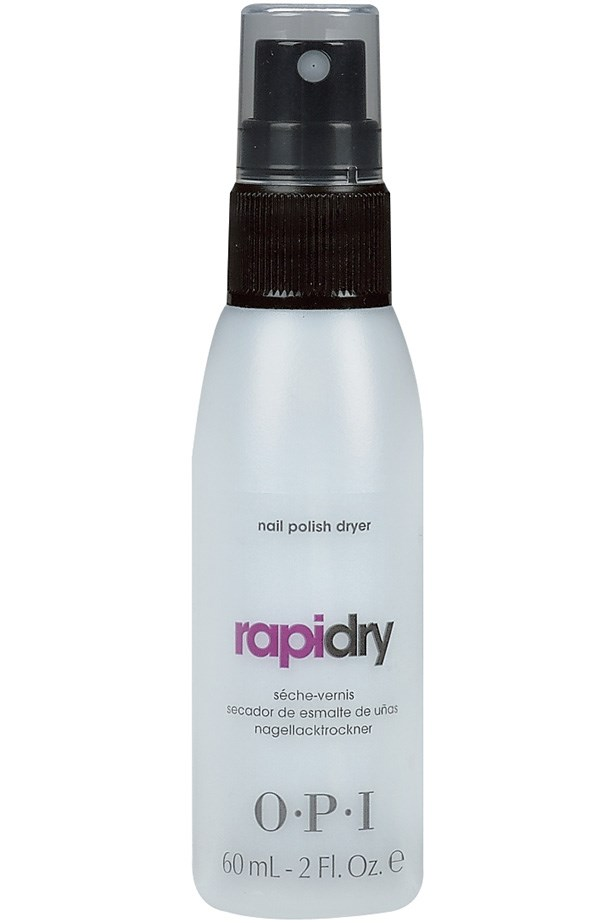 """<strong>And a spray for your pedicure</strong> <br> <br> Don't bend over, just mist it over your toes and go. It'll lend them a smudge-proof kind of shine. <br> <br> OPI RapiDry Spray, $17.95, at <a href=""""http://http://shop.davidjones.com.au/djs/en/davidjones/rapidry-spray-bottle"""">David Jones</a>"""