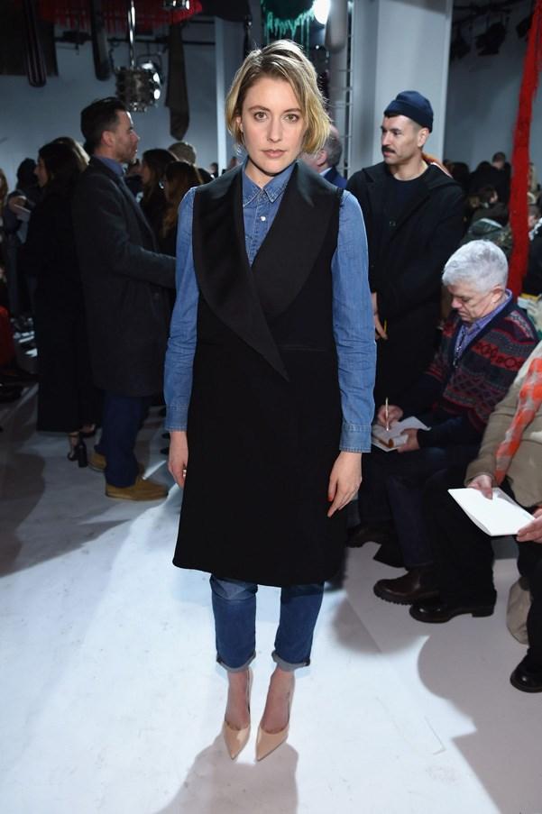 <p><strong>Calvin Klein</strong> <BR><BR> Greta Gerwig