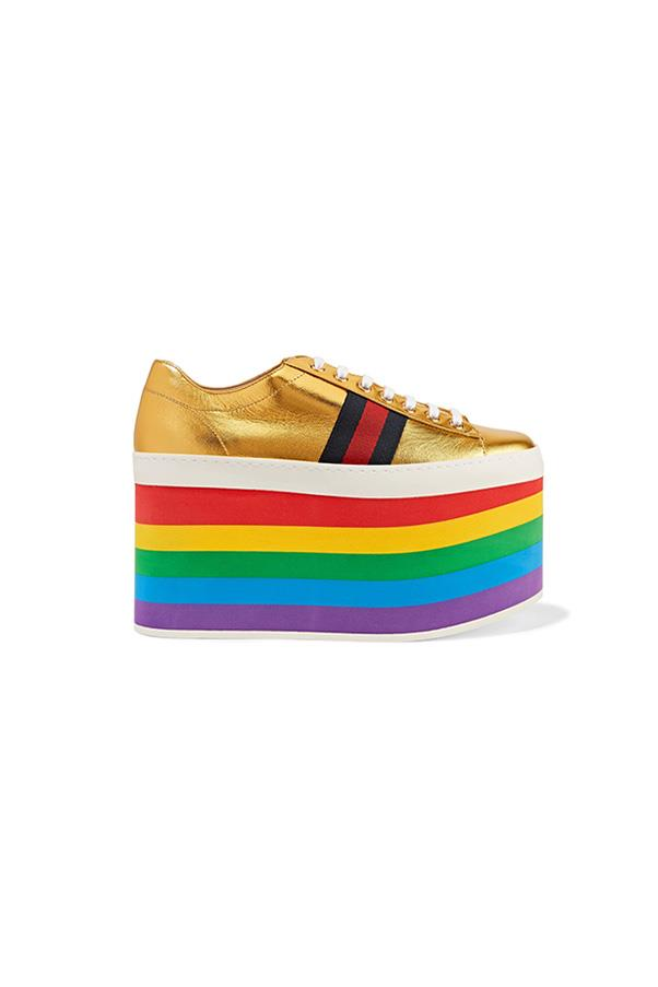 "Sneakers, $1,035, Gucci at <a href=""https://www.net-a-porter.com/au/en/product/800503/gucci/metallic-leather-platform-sneakers"">Net-a-Porter</a>"