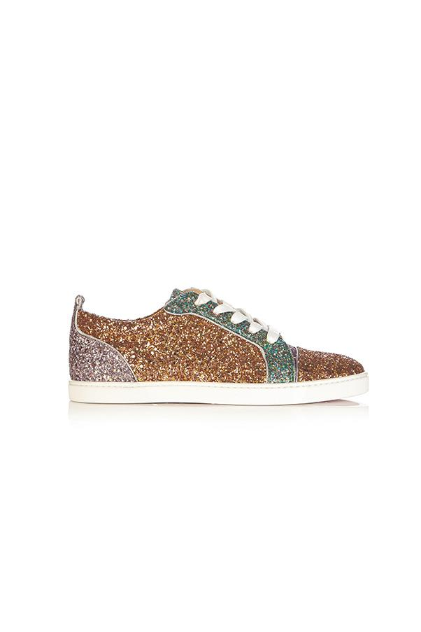 "Sneakers, $1,125, Christian Louboutin at <a href=""http://www.matchesfashion.com/au/products/Christian-Louboutin-Gondoliere-low-top-panelled-glitter-trainers--1055255"">Matches Fashion</a>"