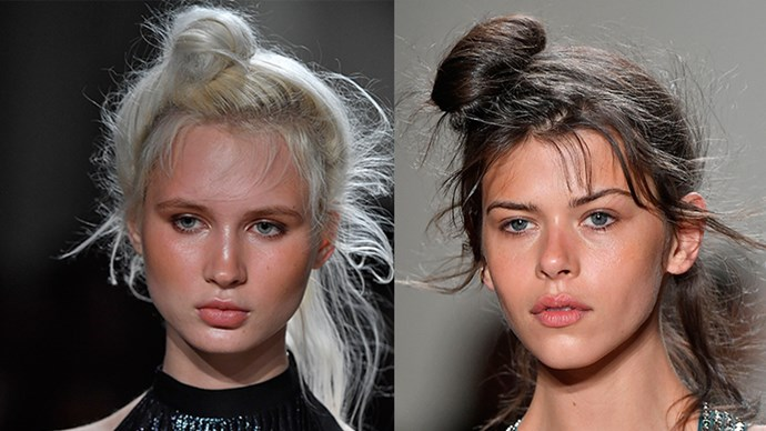 <strong>Adam Selman</strong> <br> <br> Off-centre, wispy top knots and barely-there makeup are a combo we'll always come back to. Just a flush of colour in the cheeks makes for a youthful look.
