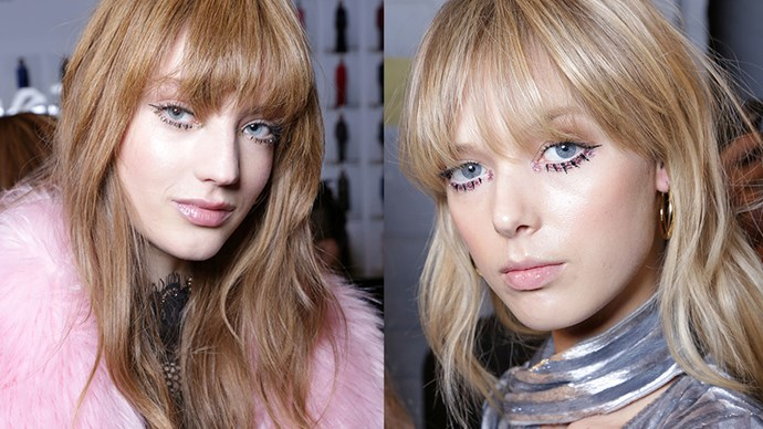 <strong>Tadashi Shoji</strong> <br> <br> Twiggy lashes always make a comeback at NYFW, and this year they're accompanied by liquid glitter liner, a feline flick and full bangs.