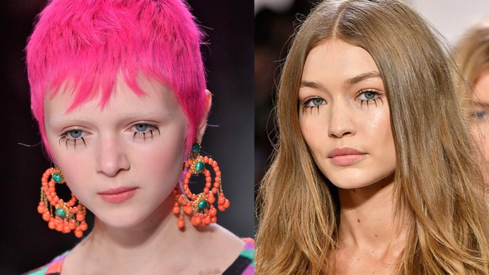 <em>Jeremy Scott</em> <br> <br> Spider lashes (created using individual lash clusters) stole the show at Jeremy Scott, along with equally zany red nails by CND, and hot pink hair.
