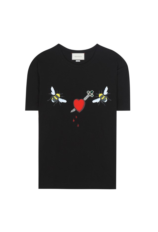 "T-Shirt, $705, <a href=""http://www.mytheresa.com/en-au/printed-cotton-t-shirt-659605.html?catref=category#&gid=1&pid=1"">Gucci at mytheresa.com</a>."