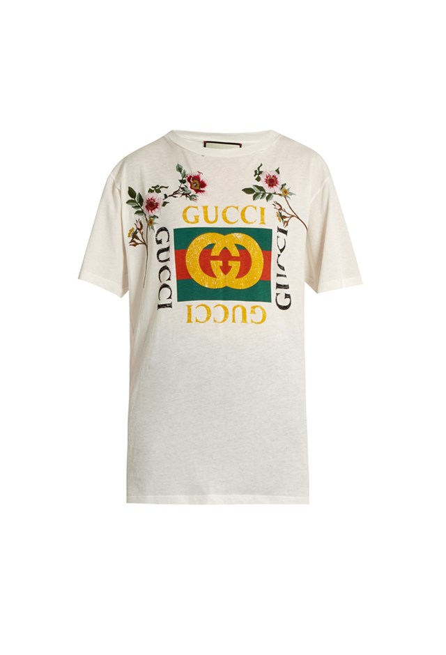 "T-Shirt, $850, Gucci at <a href=""http://www.matchesfashion.com/au/products/Gucci-Distressed-and-embroidered-logo-T-shirt-1074878"">matchesfashion.com</a>."