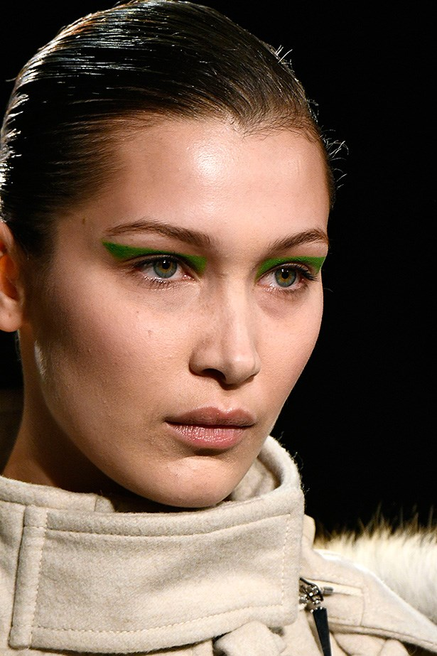 <strong>Prabal Gurung</strong> <br> <br> Yes it's graphic, and <em>very</em> green, but the lack of any other makeup makes it wearable. A lot of translucent powder is required to keep this design in place.
