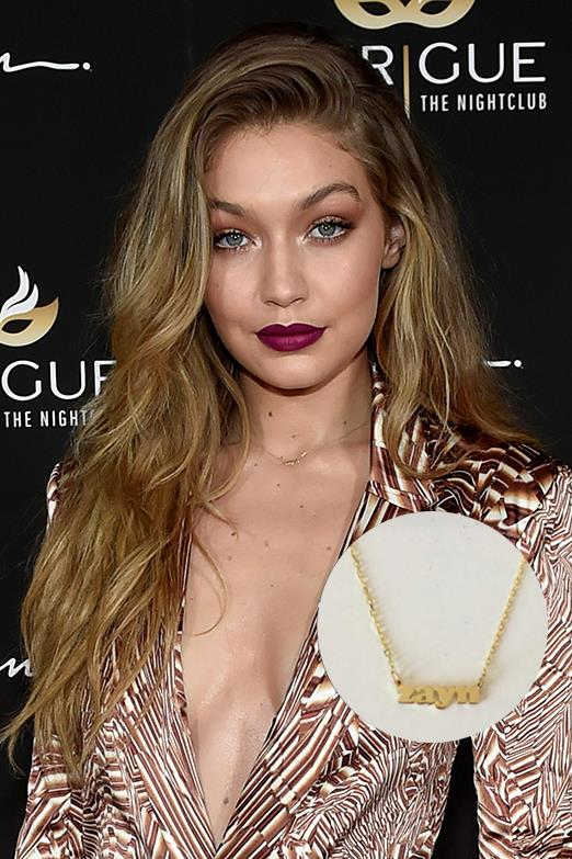 Last year Gigi was particularly attached to her 'Zayn' nameplate necklace.