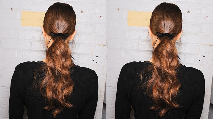 <strong>Jonathan Simkhai</strong> <br><br> At Jonathan Simkhai, polished ponytails were created by spraying hairspray to a brush before lightly brushing hair to secure flyaways.