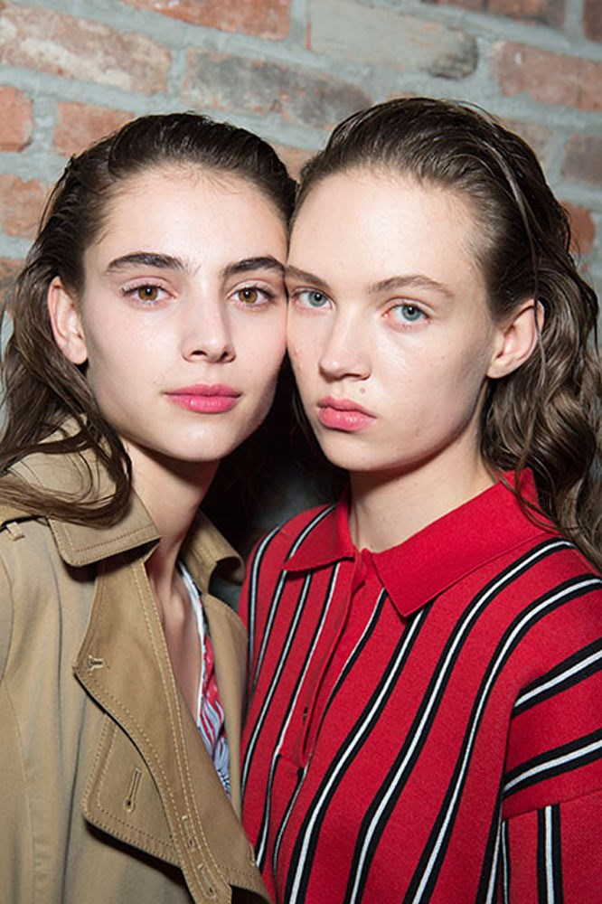 """<strong>Thakoon</strong><br> While hair is wet, apply Bumble and Bumble's <a href=""""http://mecca.com.au/bumble-and-bumble/dont-blow-it/V-021994.html?cgpath=hair-styling"""">Don't Blow It</a> to roots and comb through. Add TRESemmé <a href=""""http://www.tresemme.com.au/product/detail/984463/dry-defining-spray"""">Dry Defining Spray</a> while pulling hair back and shaping, then give a final blast of <a href=""""http://www.tresemme.com.au/product/detail/585267/salon-finish-extra-hold-hairspray"""">Salon Finish Extra Hold Hairspray</a> and blowdry hair with a diffuser until dry."""