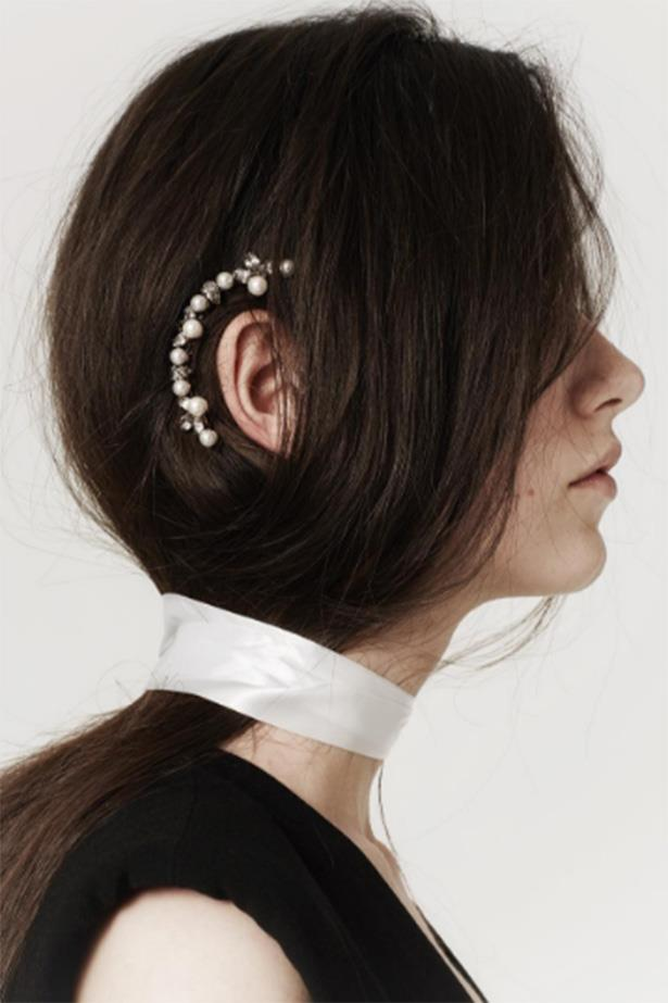 Ear cuffs are so 2015. Plus pearl studded hair cuffs are a lot easier to keep in place. <br> <br> <em>@LeletNY</em>