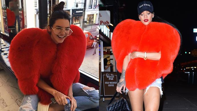 """**Kendall Jenner and Rihanna** <br><br> Kendall Jenner and Rihanna both wore this insane Saint Laurent heart-shaped coat last year, but there's not as much competition as you would think. Kendall admitted in a recent blog post, """"Rihanna wore it best, for the record."""""""