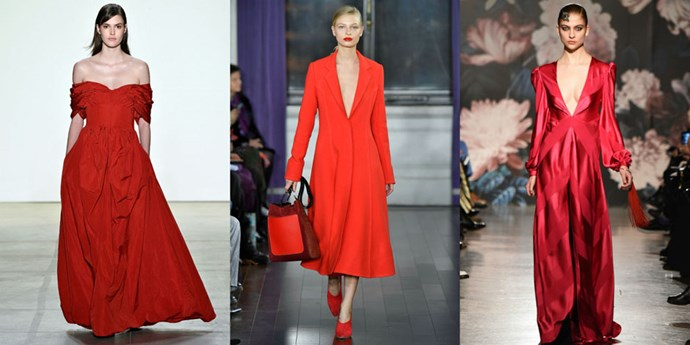 <p><strong>Power red</strong> <p>A good red will always be in style, but this season designers are taking it to the next level and using the bold hue to make a punchy statement. <em>Left to right: Brock Collection, Jason Wu, Sachin & Babi</em>