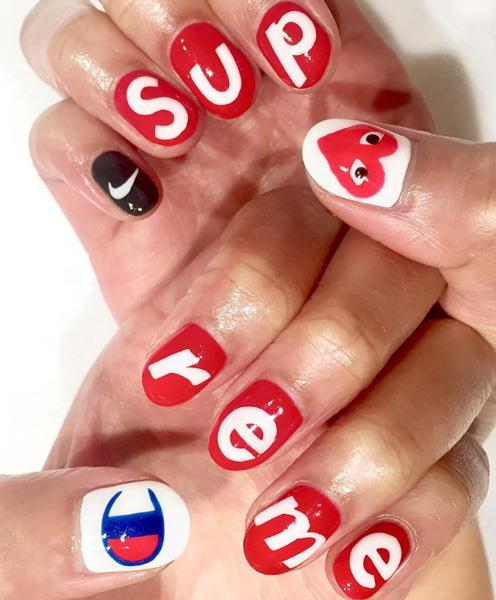 "Nike, Champion, Supreme and Comme des Garçons nails by <a href=""https://www.instagram.com/p/BNuh9kSBHww/"">@ciaomanhattan2012</a>"