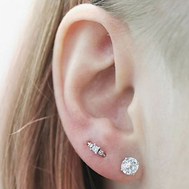"<p><strong>Orbital</strong> <p>An orbital piercing is when one piece of jewellery goes through two (or sometimes more) piercings. It's commonly done in the lobes, but can sit anywhere else in the ear as well. <p>Healing time: 6-8 weeks. <p>Image: <a href=""https://www.instagram.com/p/BQVmXzFjoTu/"">@maria_tash</a>"