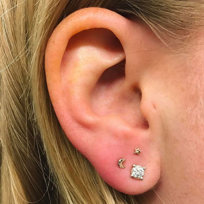 "<p><strong>Constellation</strong> <p>'<a href=""http://www.elle.com.au/fashion/accessories/2016/10/constellation-ear-piercings-trend/"">Constellation piercings</a>' were coined by celebrity piercer Brian Keith Thompson to describe the cluster of piercings that basically resemble a constellation. <p>Healing time: It depends on where the cluster is. <p>Image: <a href=""https://www.instagram.com/p/BQDfS-JgSZW/"">@wklp</a>"