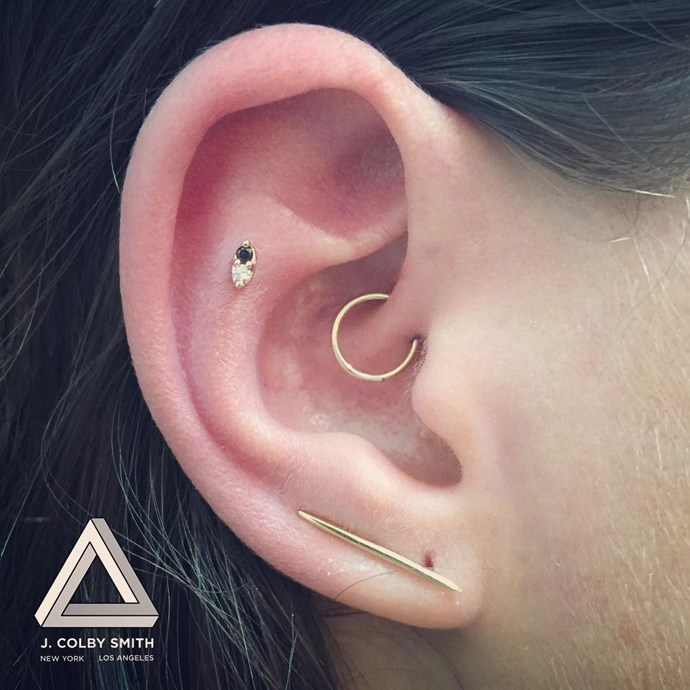 "<p>This simple ear has a daith, a flat and a lobe. <p>Image: <a href=""https://www.instagram.com/p/BP-sz6whDQO/"">@jcolbysmith</a>"