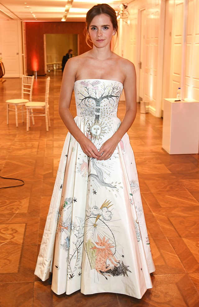 Although it may not have been <em>on</em> her official press tour, we'll settle for 'during'. This Dior Couture dress is too good not to feature anyway.