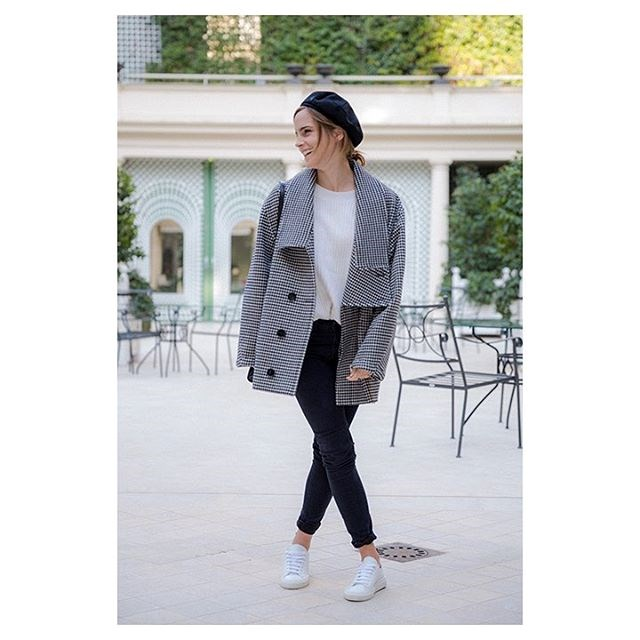 Showing off her more casual side, Emma wore this on her first stop in Paris. She's wearing a Stella McCartney coat and Filippa K jumper.