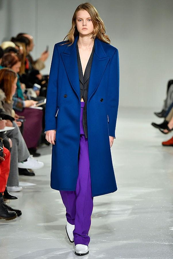 Persian blue and dark magenta at Calvin Klein.
