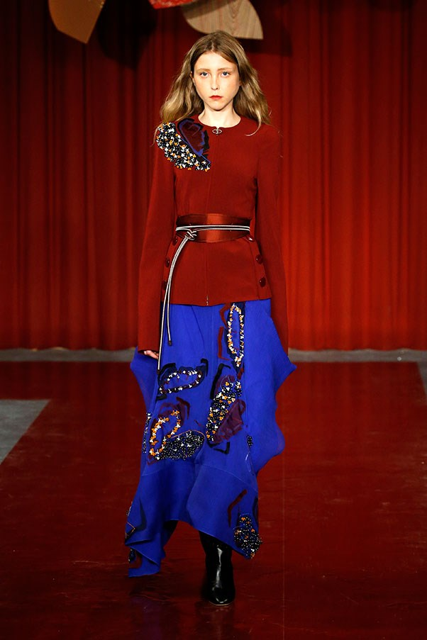 Oxblood red and electric blue at Roksanda.