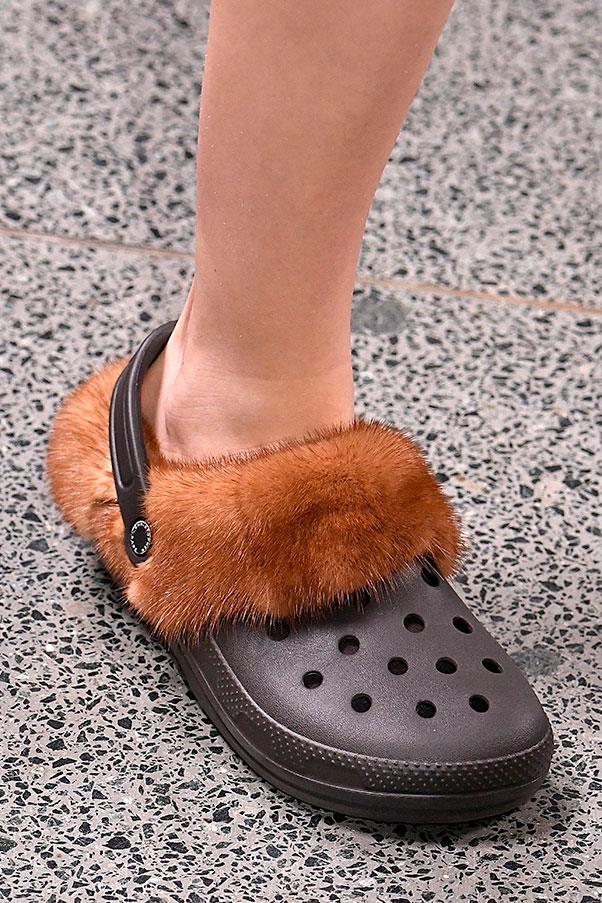 <p><strong>Crocs</strong> <p>It's safe to say that the jury is still out on Christopher Kane's valiant attempts to make Crocs happen. Last season they were tie-dye and jewel encrusted, this season they're fur-lined. Will you adopt?