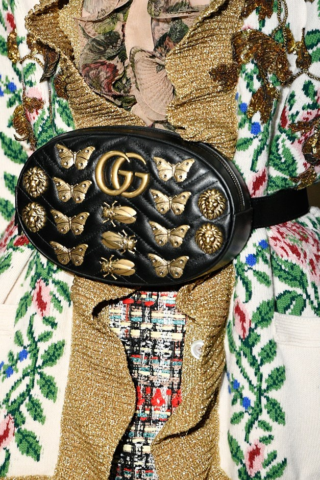 """Gucci bolstered the <a href=""""http://www.elle.com.au/fashion/trends/2017/2/questionable-trends-making-a-comeback-in-2017/questionable-trends-making-a-comeback-in-2017-image-2/"""">fanny-pack trend</a> with great aplomb."""