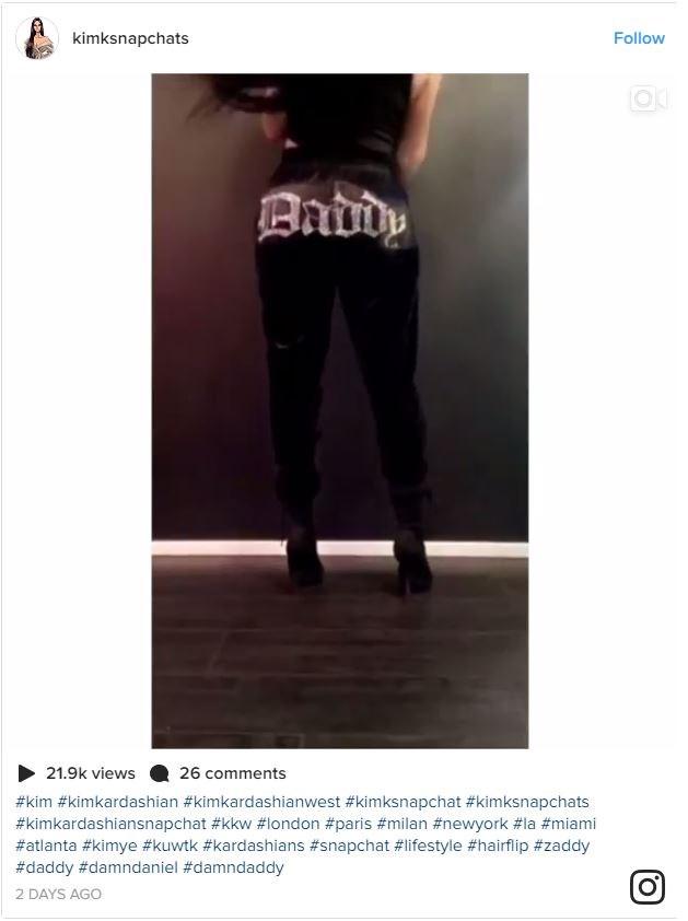 Kim Kardashian wearing 'Daddy' sweatpants.