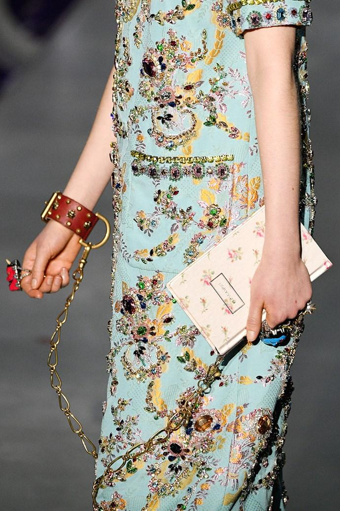 Handcuff bags at Gucci.