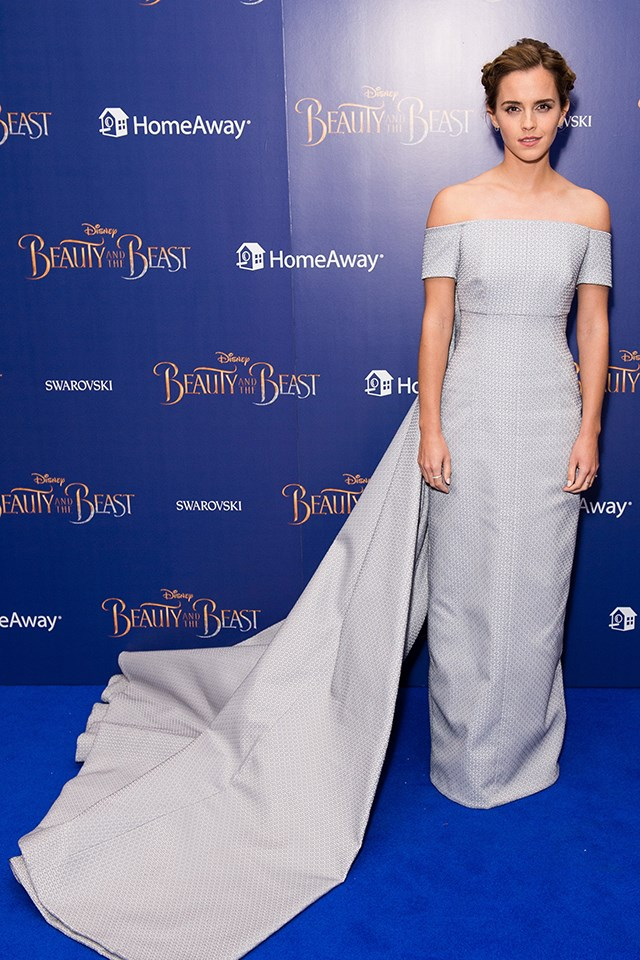 For her first big premiere for Beauty and the Beast, Emma picked this powder blue Emilia Wickstead gown, with a cape-train.