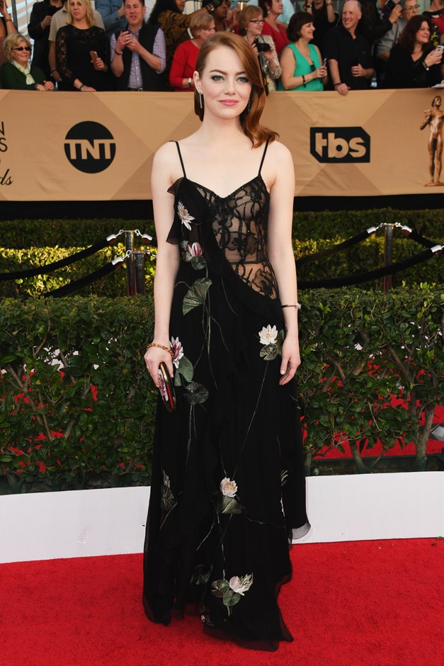 For the SAG Awards, Emma went with this exposed-corset gown by Alexander McQueen.