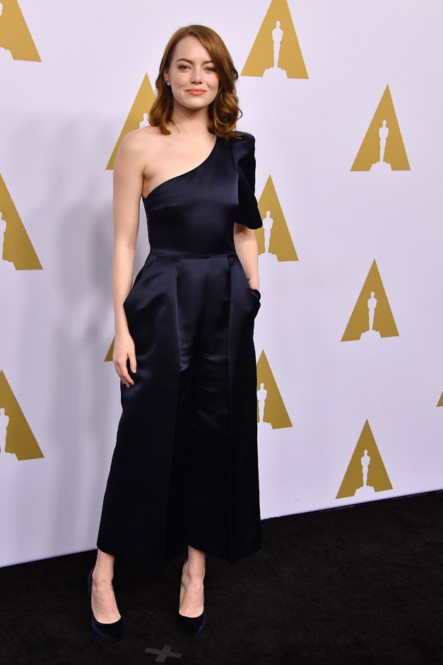 For the nominee luncheon for the Oscars, she wore this Stella McCartner one-shouldered jumpsuit.