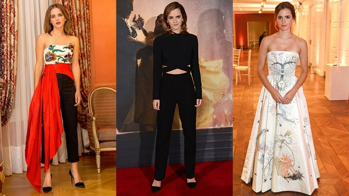 Here, we document every single eco-friendly, sustainable and chic-as-hell outfit from Emma Watson's <em>Beauty and the Beast </em>press tour wardrobe.
