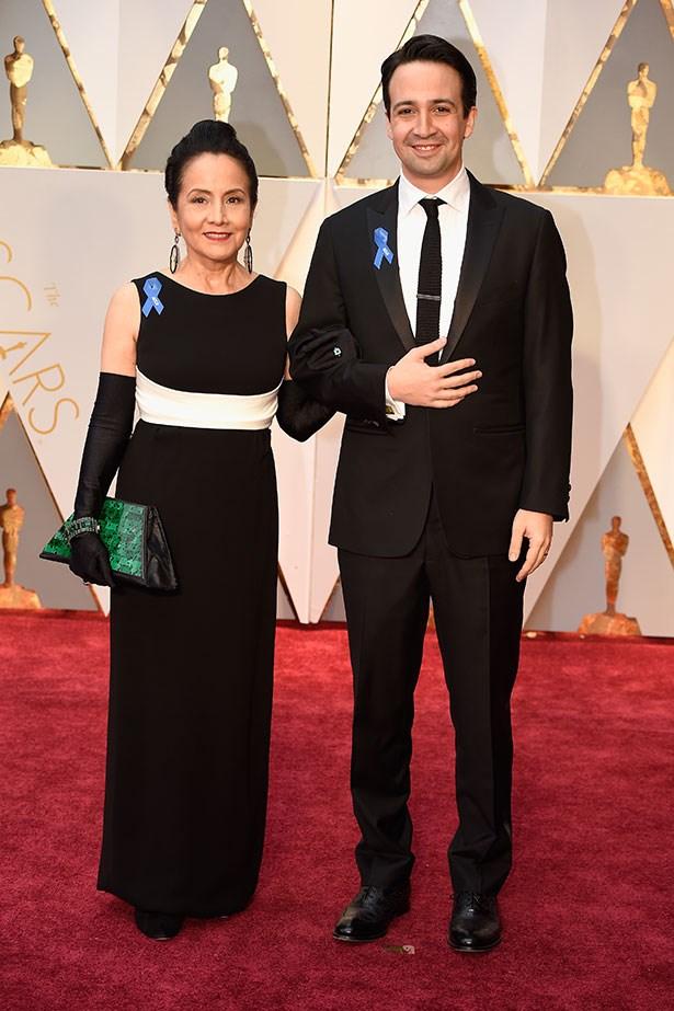 Actor Lin-Manuel Miranda brought his mother, Luz Towns-Miranda along.