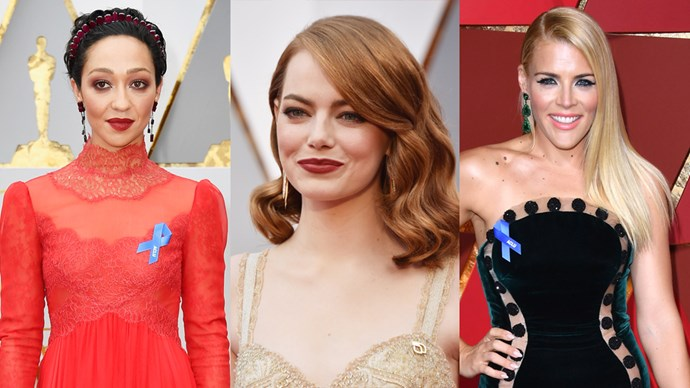 Although there were no shortage of them on stage during speeches, most political statements were found hidden in pins and badges worn on the red carpet.