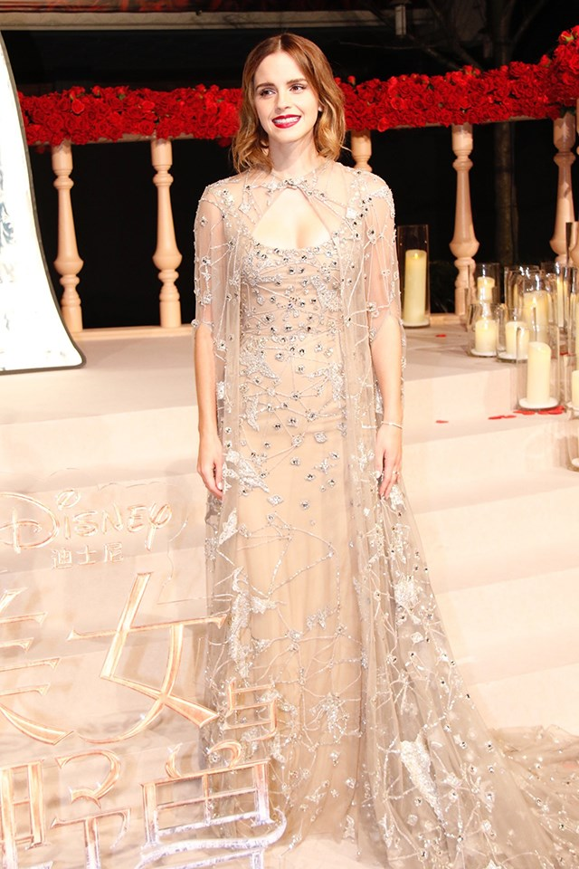 For the Shanghai premiere of the film, Emma wore this beaded dress by Elie Saab Haute Couture. The dress came with a flowing cape (how very Belle of her), that clasped at the neck.