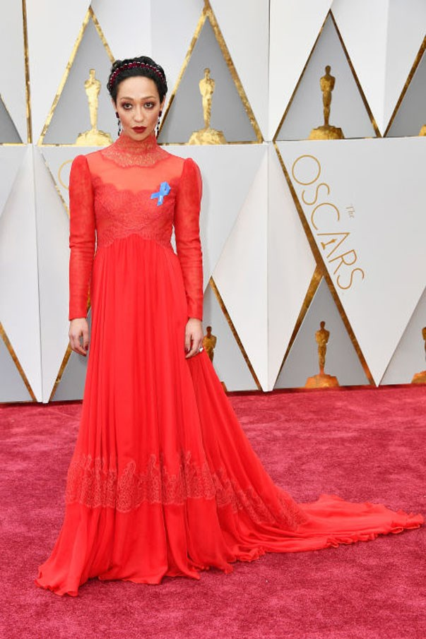 <strong>Ruth Negga in Valentino</strong> <br><br> High-necked, long-sleeved Valentino was sublimely romantic on the Loving actress. If the gown wasn't enough for you, her accessories really clinched her best-dressed spot. A jewelled headband gave her a regal feel, and she was the first to be spotted wearing a blue ribbon to support the ACLU.