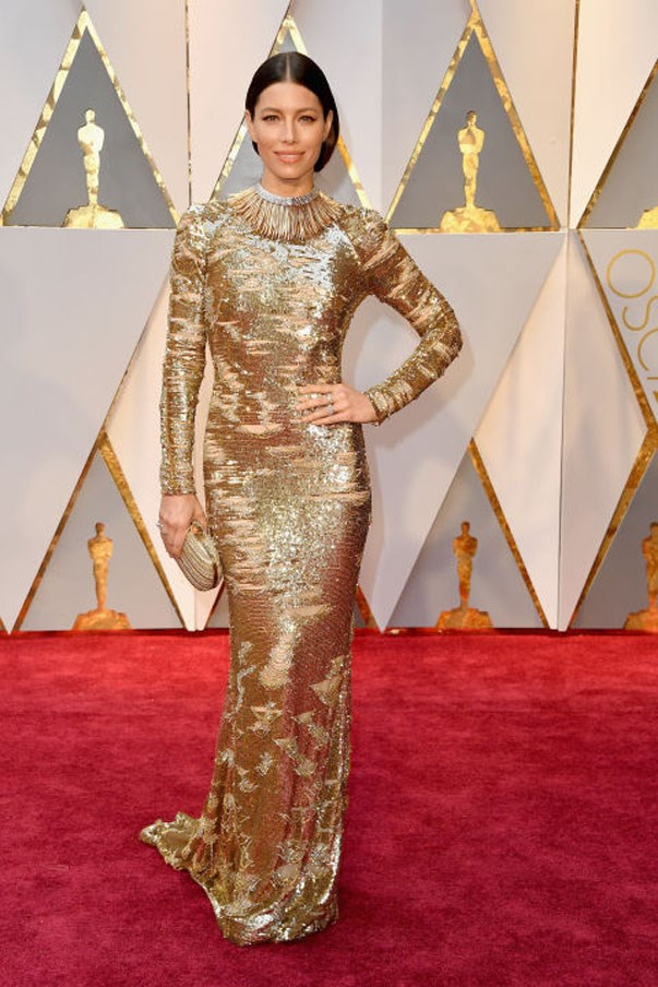 "<strong>Jessica Biel in Kaufmanfranco</strong> <br><br> If you aren't a complete red-carpet regular, learn from Biel and don't play it safe. She went bold in a silver and gold Kaufmanfranco long-sleeve gown and feathered Tiffany & Co. collar necklace that, honestly, was best described by husband Justin Timberlake: ""I call it perfection."""