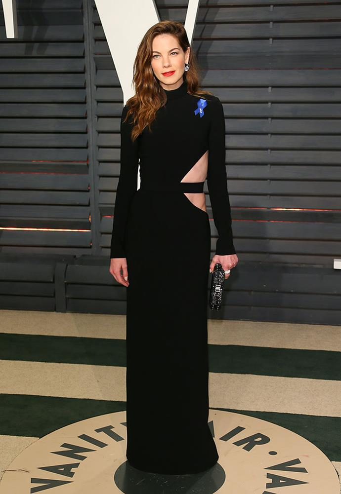 Michelle Monaghan wore the ACLU ribbon to the <em>Vanity Fair</em> Oscars party.