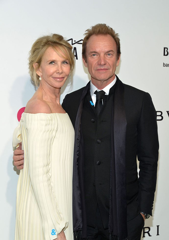 Sting and his wife, Trudie Styler, showed for support for GLAAD with their statement pins.