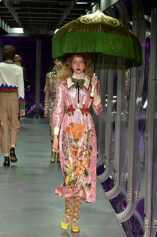 <strong>2. Gucci</strong> <br><br> There is so much to take in on the Gucci runway it's impossible to choose just one look but given Alessandro Michele referenced The Alchemist's Garden as his key narrative and inspiration we figure this flower-adorned dream is as good a place as any to start.