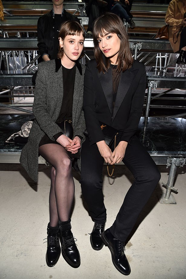 Mathilde Warnier and guest at Saint Laurent.