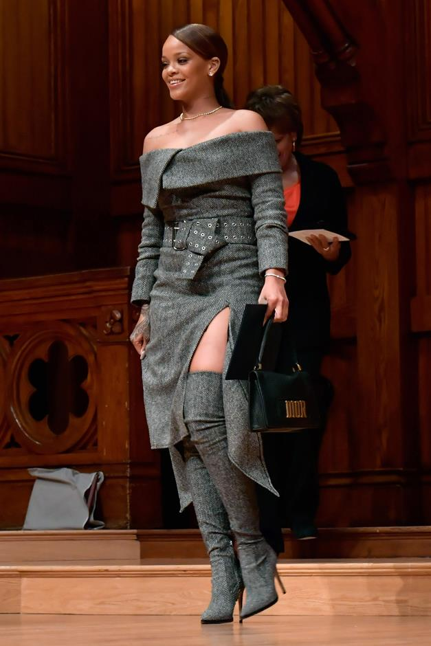 Rihanna accepted Harvard's Humanitarian of the Year Award yesterday in dark grey Monse. Of course.