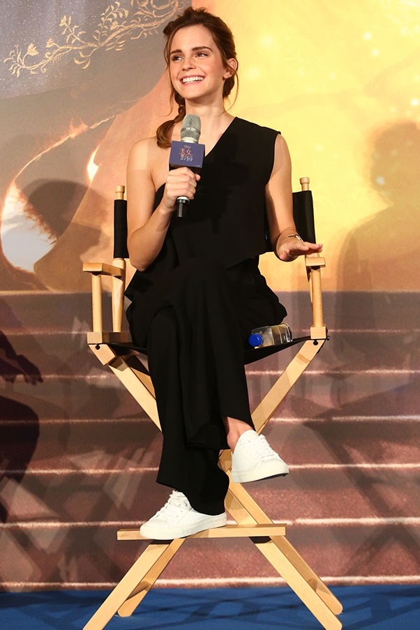 <p>Emma Watson at a press event for <em>Beauty and the Beast</em> in China wearing Cienne New York, February 2017.
