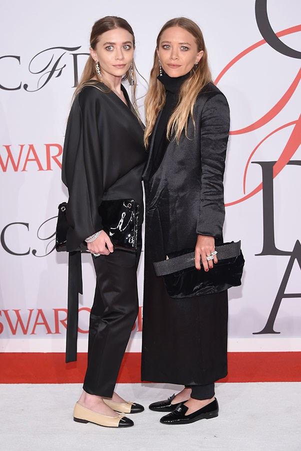 <p> Mary-Kate and Ashley Olsen at the CFDA fashion awards, May 2015.