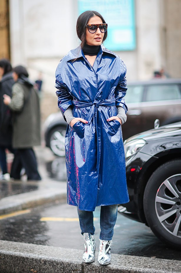<strong>9. Finish Your Look With A Piece Of Slick Outwear</strong> <br></br> Whether it's a statement colour-pop coat or your favourite leather jacket, a trusty outer garment will keep your under clothes dry and pull your look together in a cinch.