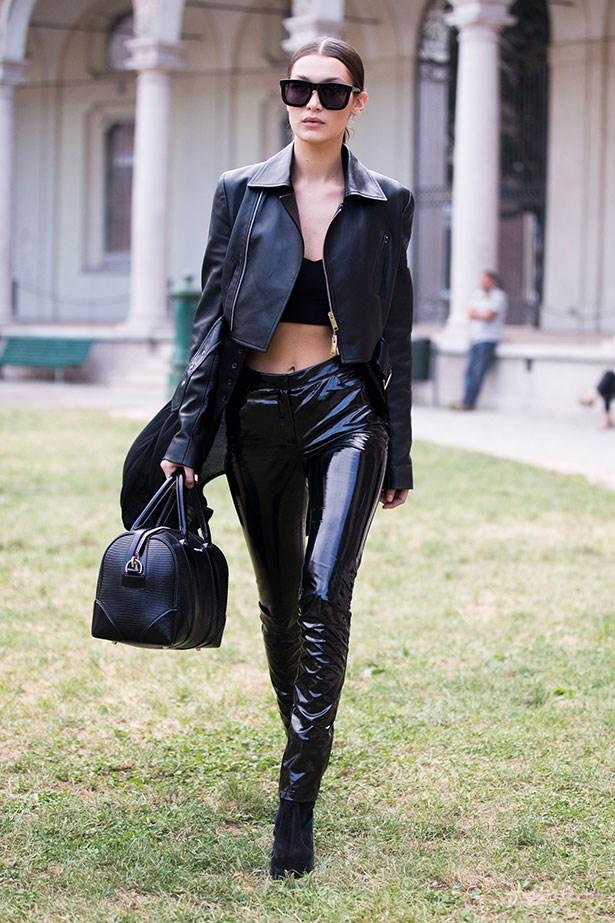 Bella Hadid at Milan fashion week.
