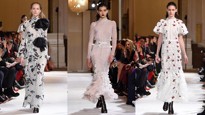 Giambattista Valli pulled off another lush, ladylike showing today in Paris. The collection went with girlie ruffles, sheer dresses, sweet polka-dots and flirty cherry appliqué details.