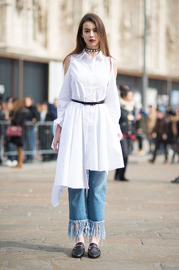 """<strong>3. Mum Jeans </strong> <br></br> """"Layer your straight leg jeans under dresses and structured skirts (like you would do with opaque tights) and you'll add a few more weeks to your favourite summer pieces."""""""