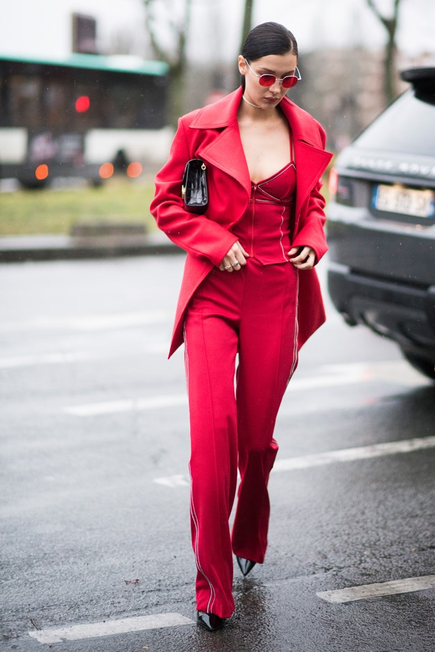 Although Bella's style repertoire is extensive, she's definitely been rocking a lot of monochrome outfits lately, like this all-red look in Paris.